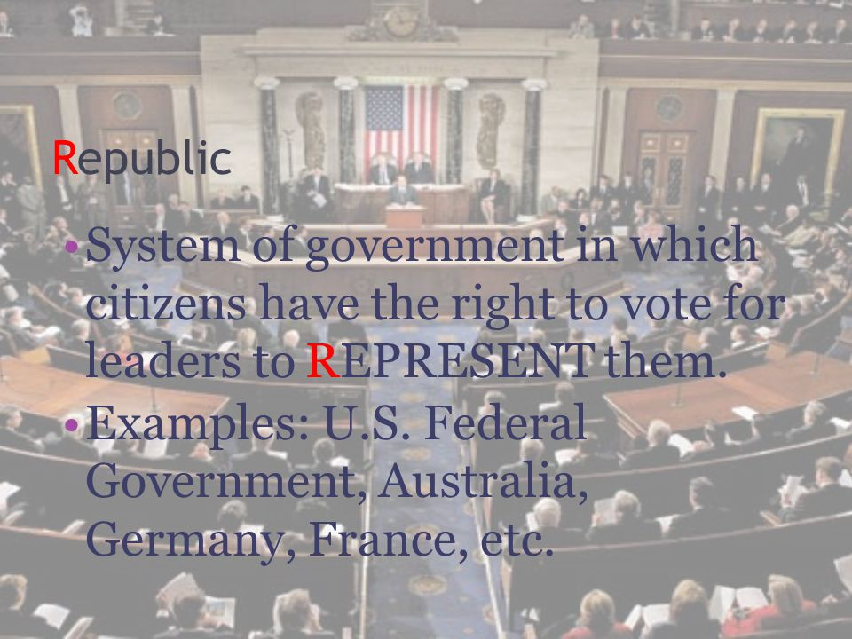 Examples: U.S. Federal Government, Australia, Germany, France, etc.