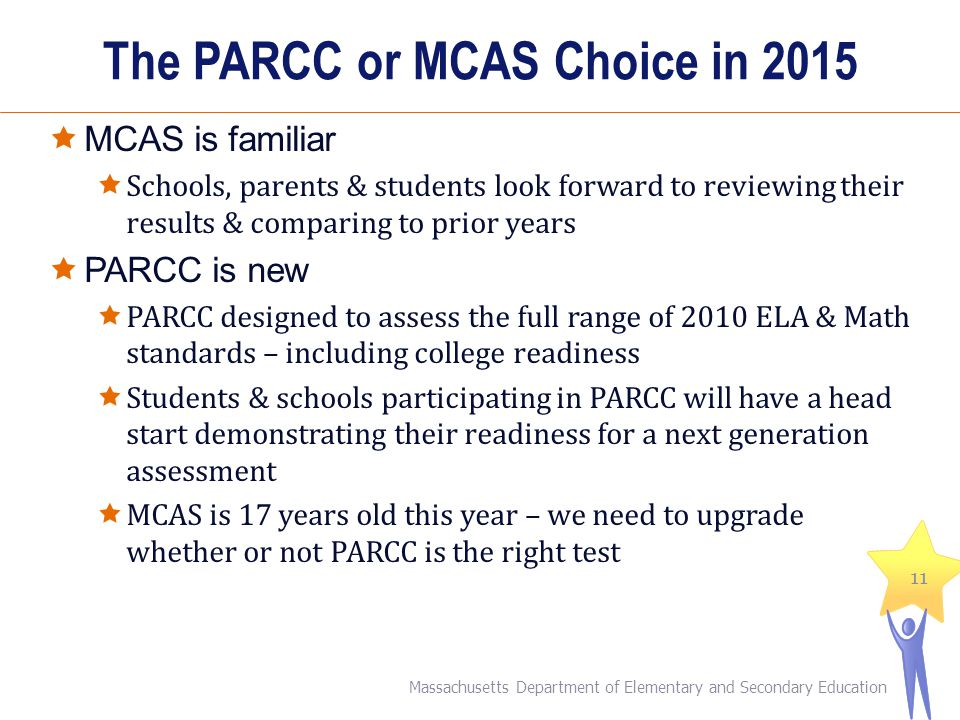 The PARCC or MCAS Choice in 2015