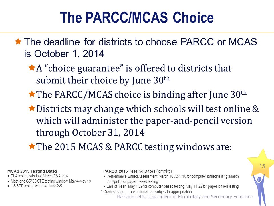 The PARCC/MCAS Choice The deadline for districts to choose PARCC or MCAS is October 1, 2014.