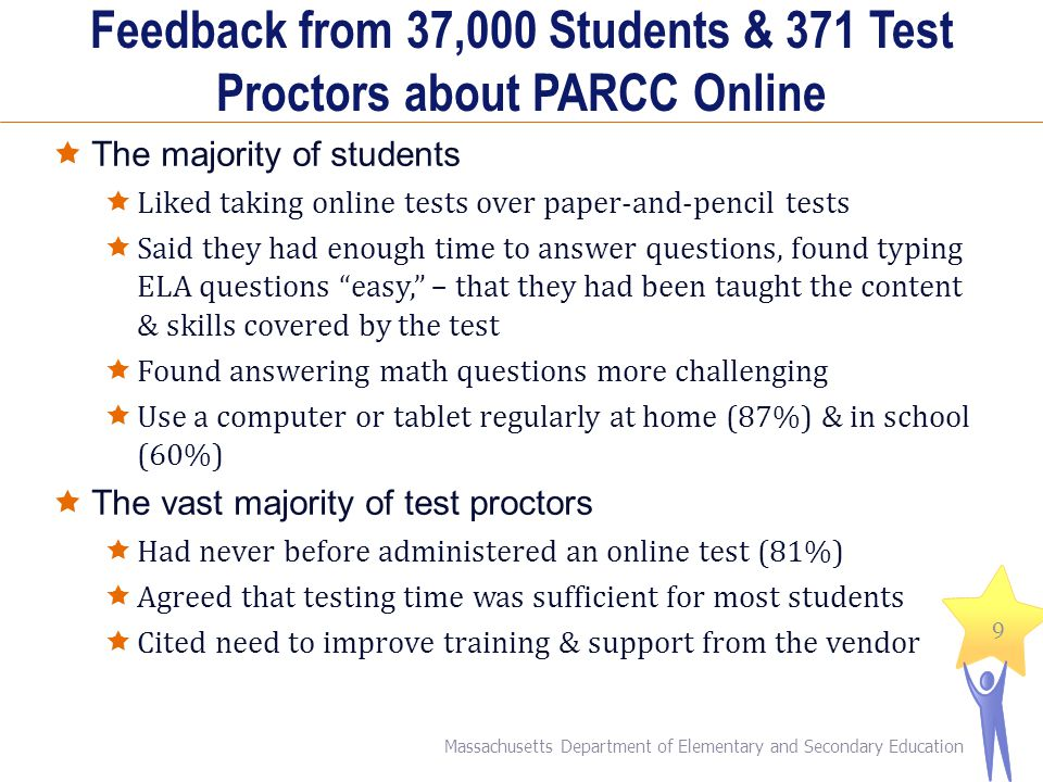 Feedback from 37,000 Students & 371 Test Proctors about PARCC Online
