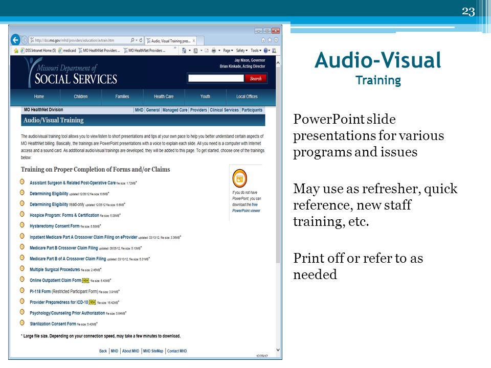 Audio-Visual Training