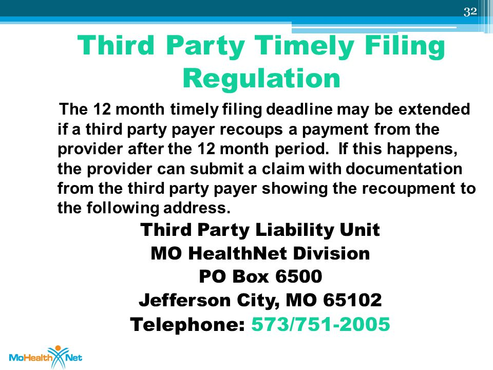 Third Party Timely Filing Regulation