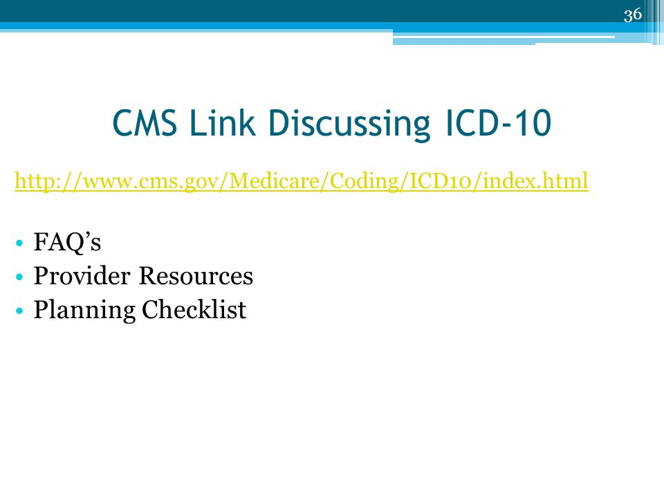CMS Link Discussing ICD-10