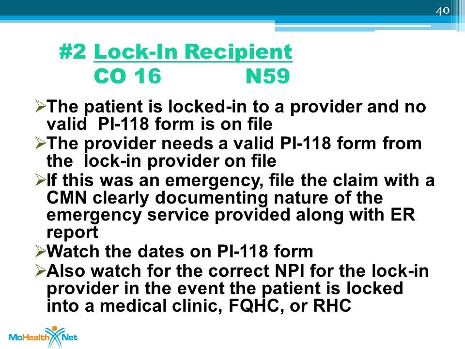 #2 Lock-In Recipient CO 16 N59