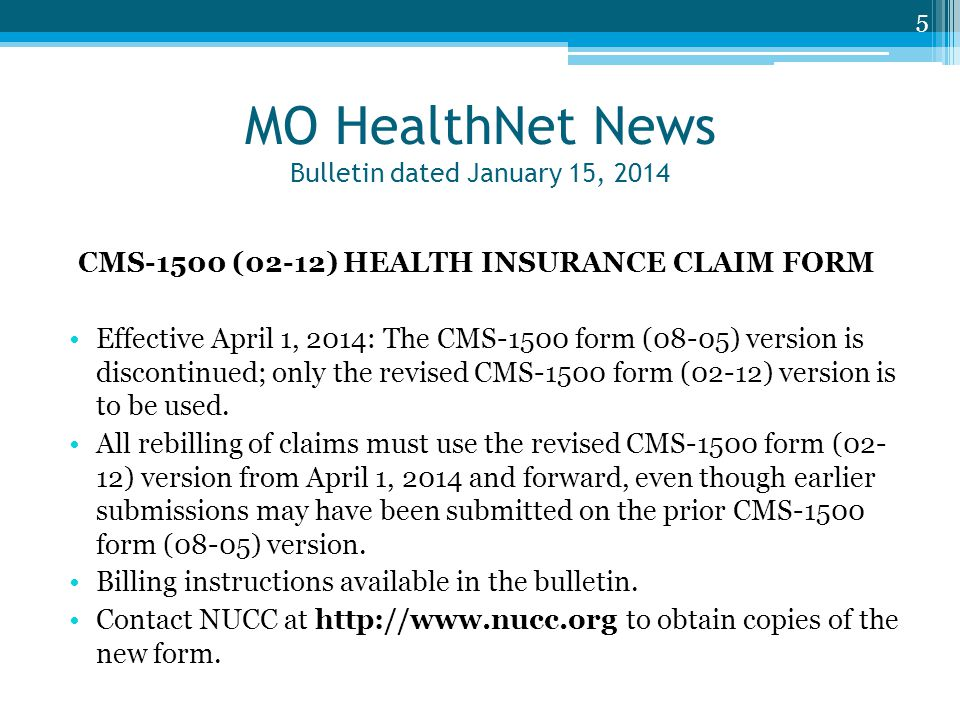 MO HealthNet News Bulletin dated January 15, 2014