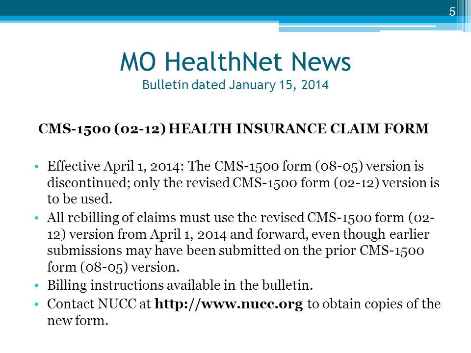MO HealthNet News Bulletin dated January 15, 2014
