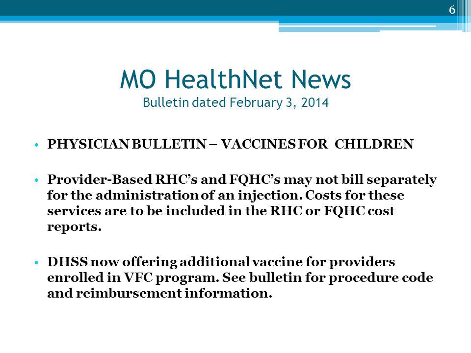 MO HealthNet News Bulletin dated February 3, 2014