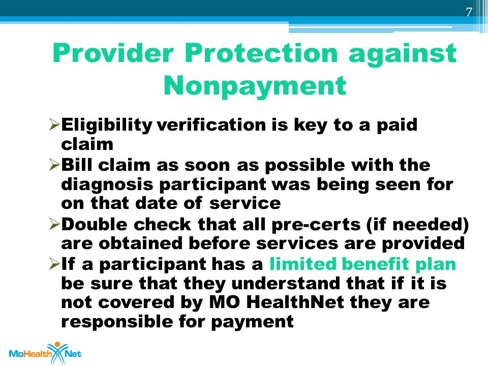 Provider Protection against Nonpayment