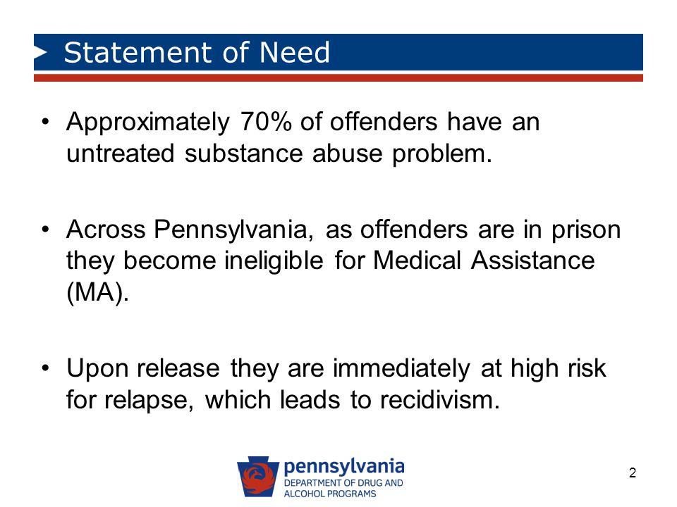 Statement of Need Approximately 70% of offenders have an untreated substance abuse problem.