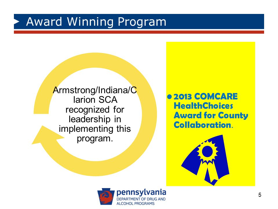 Award Winning Program 2013 COMCARE HealthChoices Award for County Collaboration.