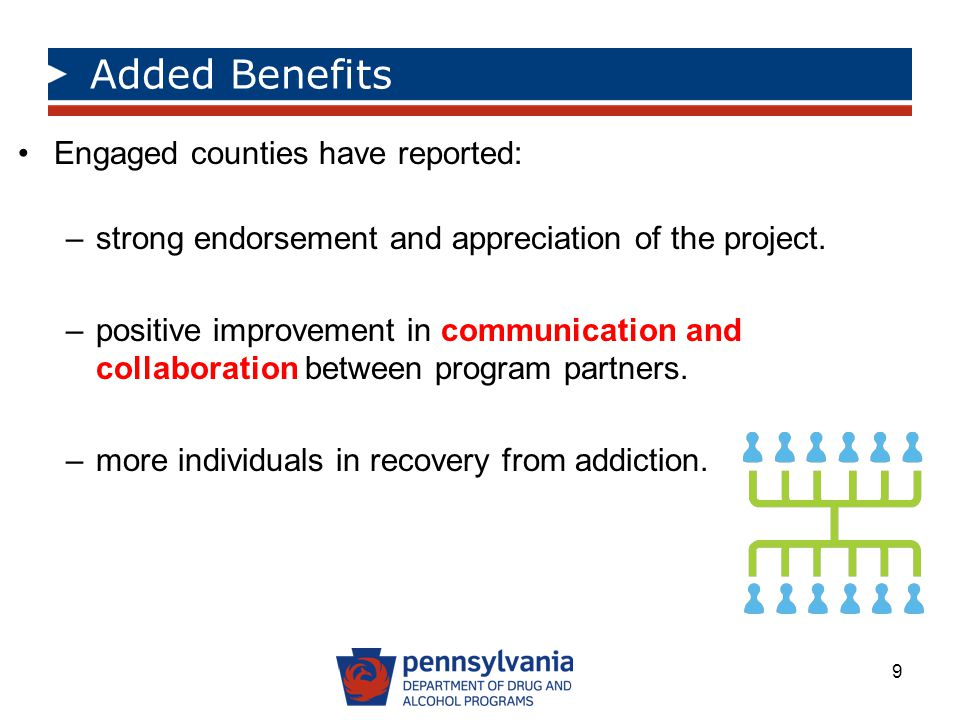 Added Benefits Engaged counties have reported: