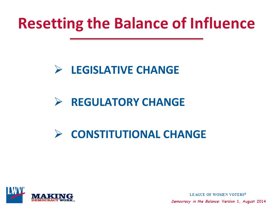 Resetting the Balance of Influence