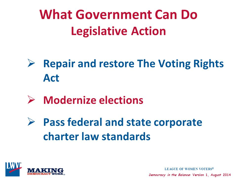What Government Can Do Legislative Action
