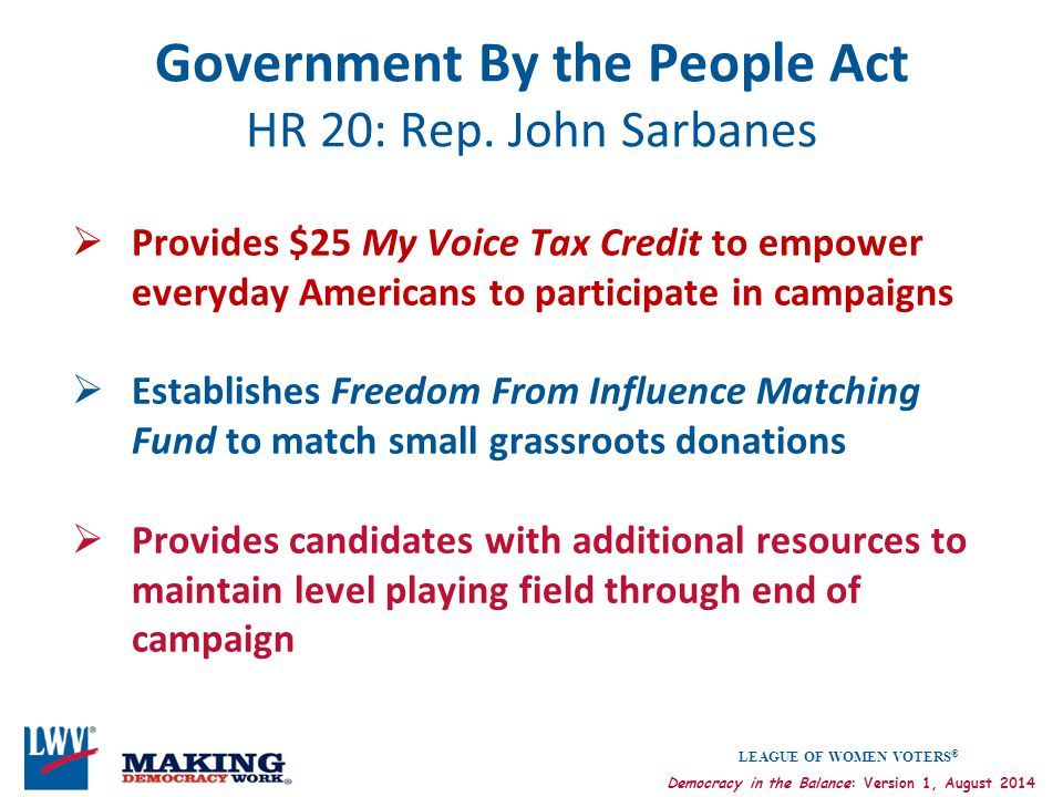 Government By the People Act HR 20: Rep. John Sarbanes