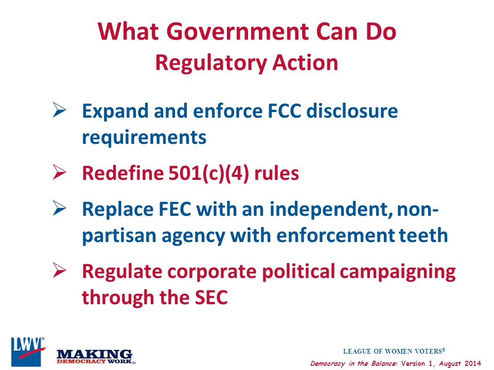 What Government Can Do Regulatory Action