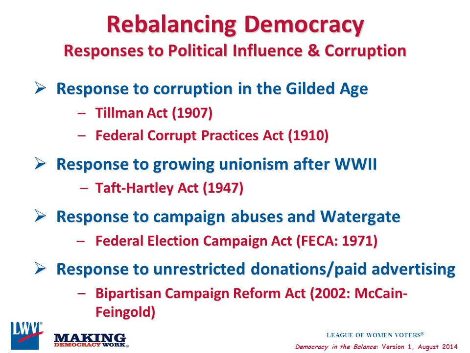 Rebalancing Democracy Responses to Political Influence & Corruption