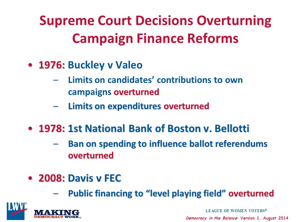 Supreme Court Decisions Overturning Campaign Finance Reforms