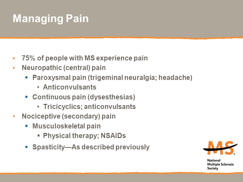 Managing Pain 75% of people with MS experience pain