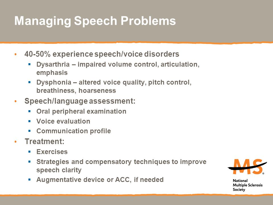 Managing Speech Problems
