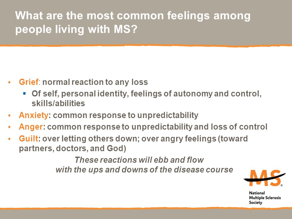 What are the most common feelings among people living with MS