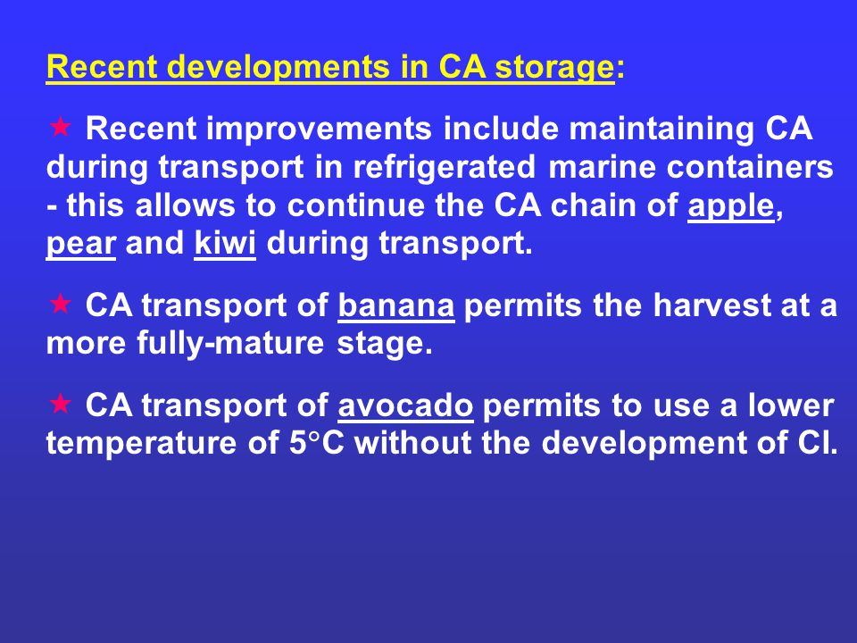 Recent developments in CA storage: