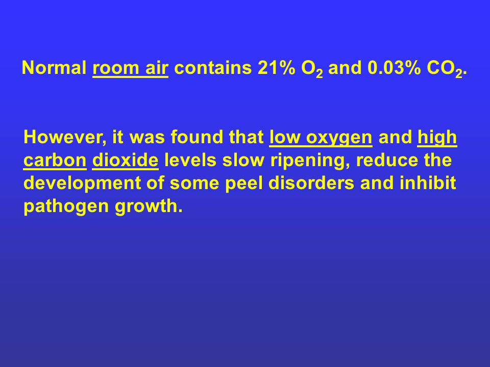 Normal room air contains 21% O2 and 0.03% CO2.