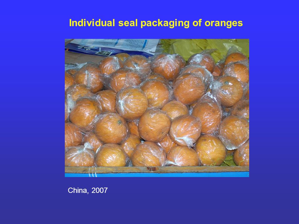 Individual seal packaging of oranges