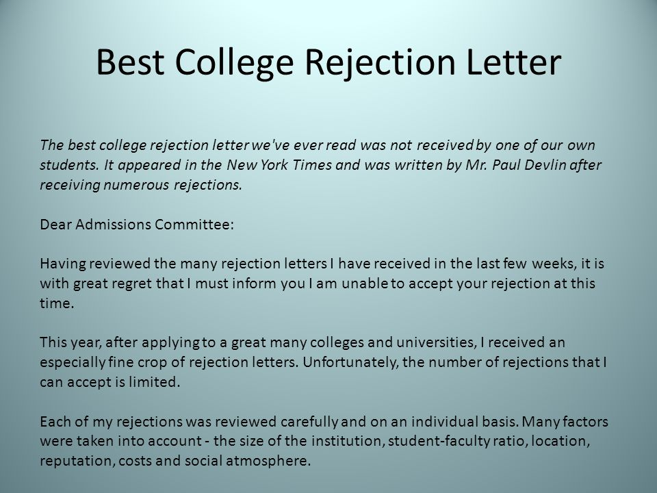 Best College Rejection Letter