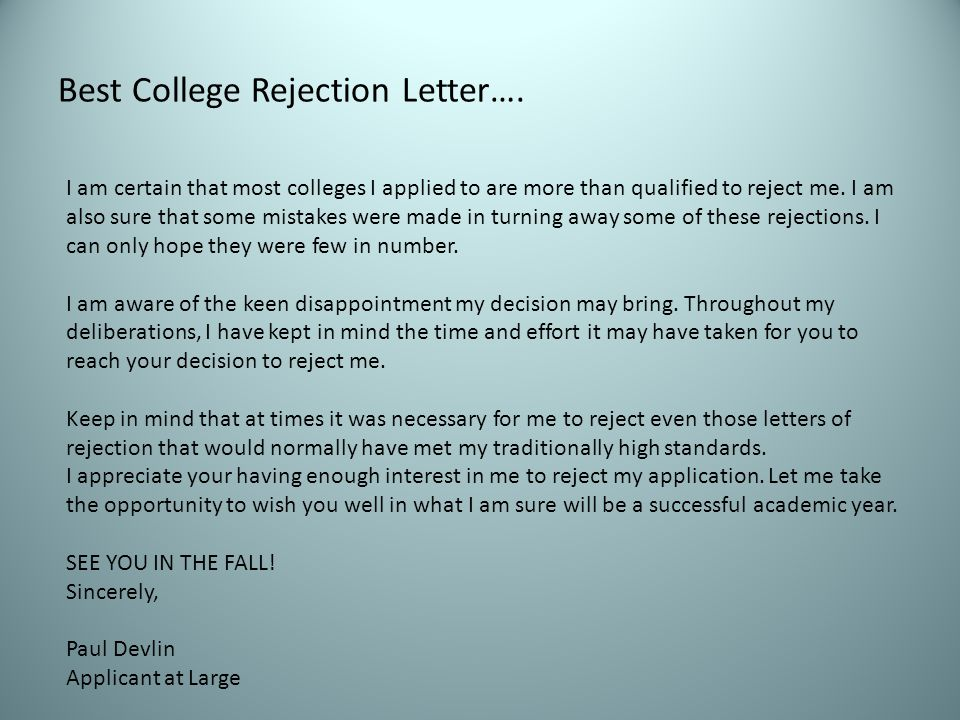 Best College Rejection Letter….