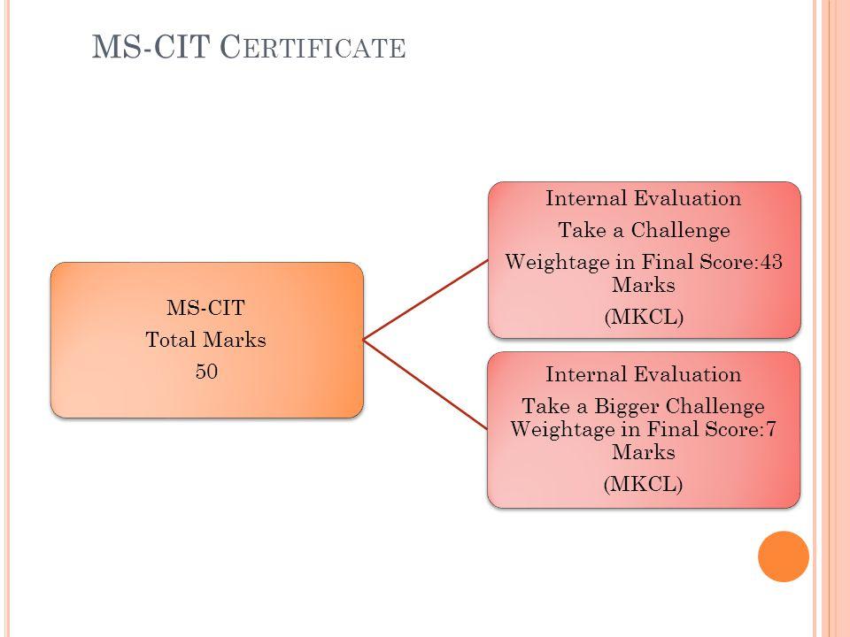 MS-CIT Certificate Internal Evaluation