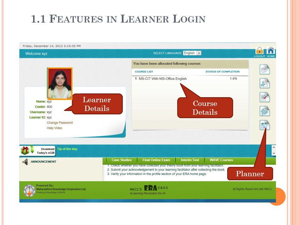 1.1 Features in Learner Login