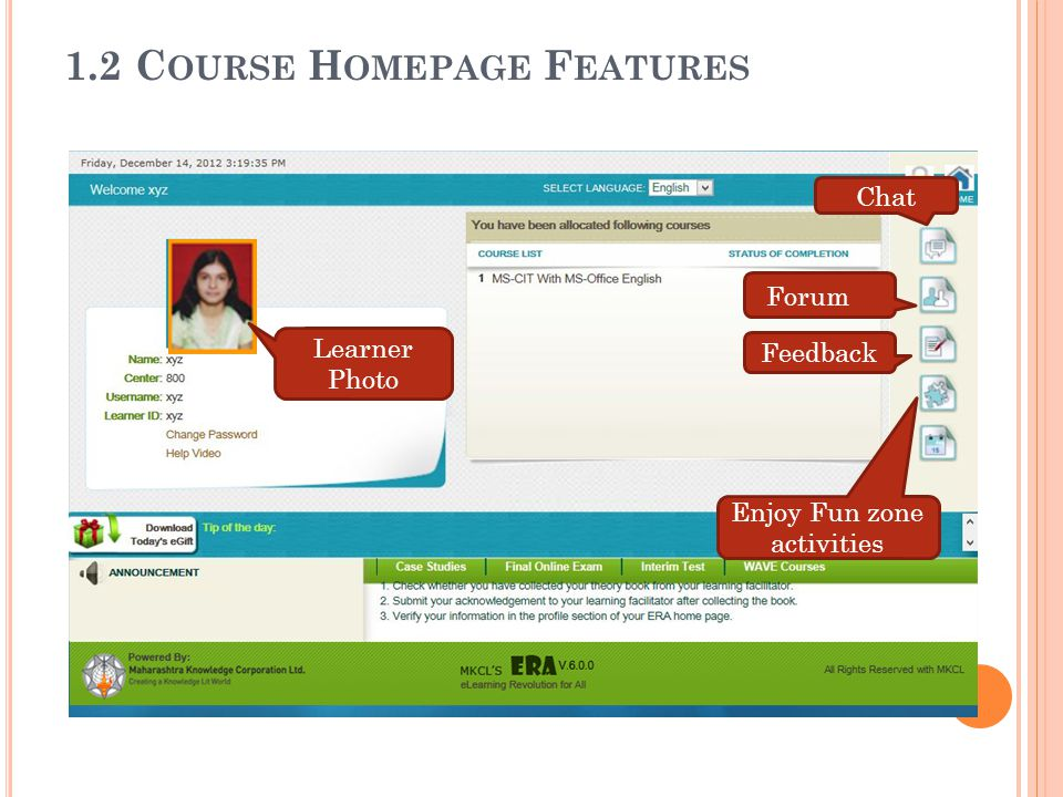 1.2 Course Homepage Features