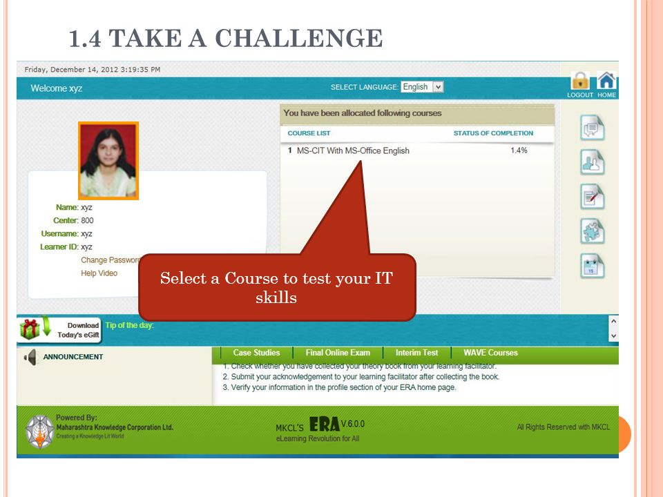 Select a Course to test your IT skills