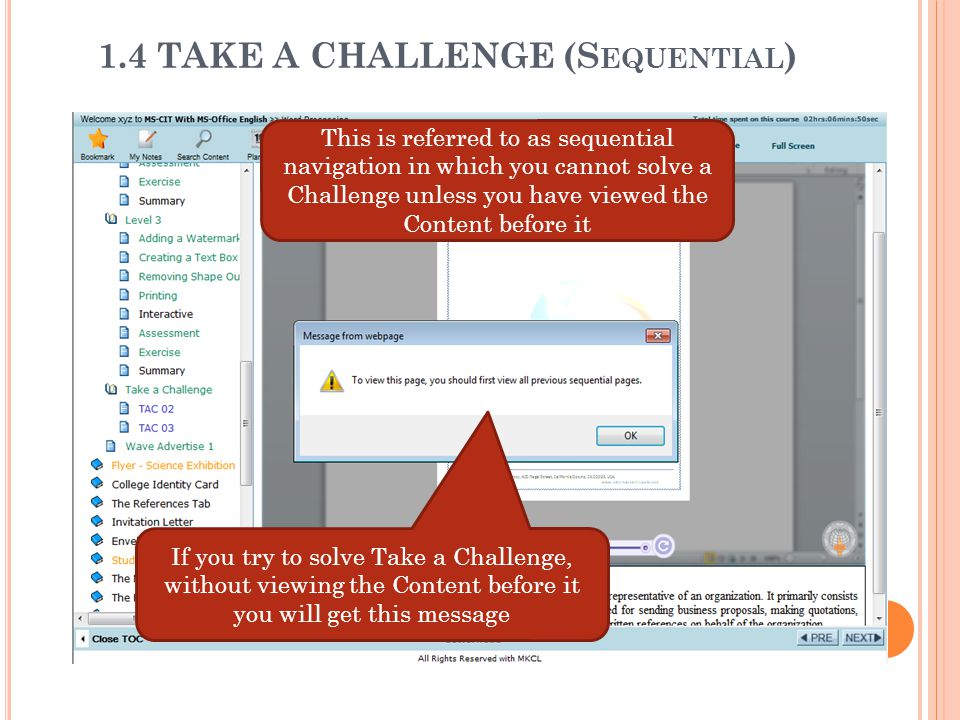 1.4 TAKE A CHALLENGE (Sequential)