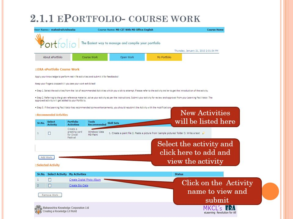 2.1.1 ePortfolio- course work