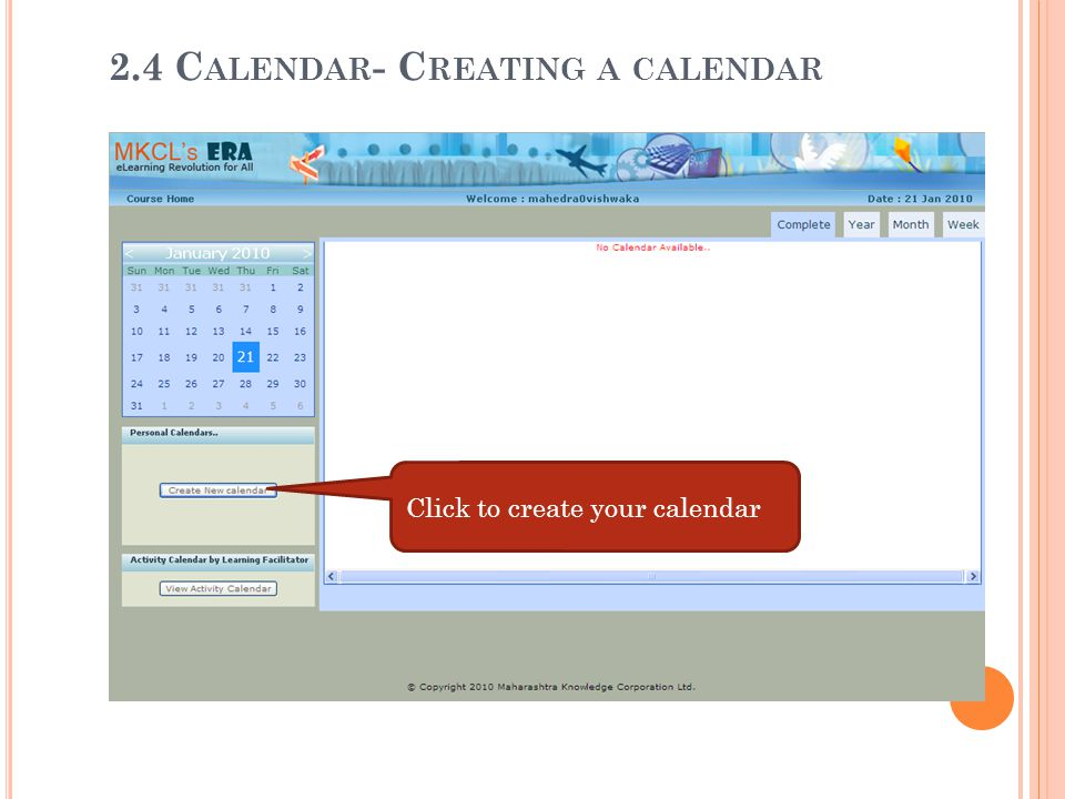 2.4 Calendar- Creating a calendar