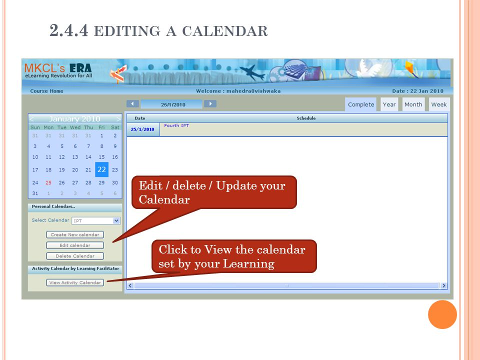 2.4.4 editing a calendar Edit / delete / Update your Calendar