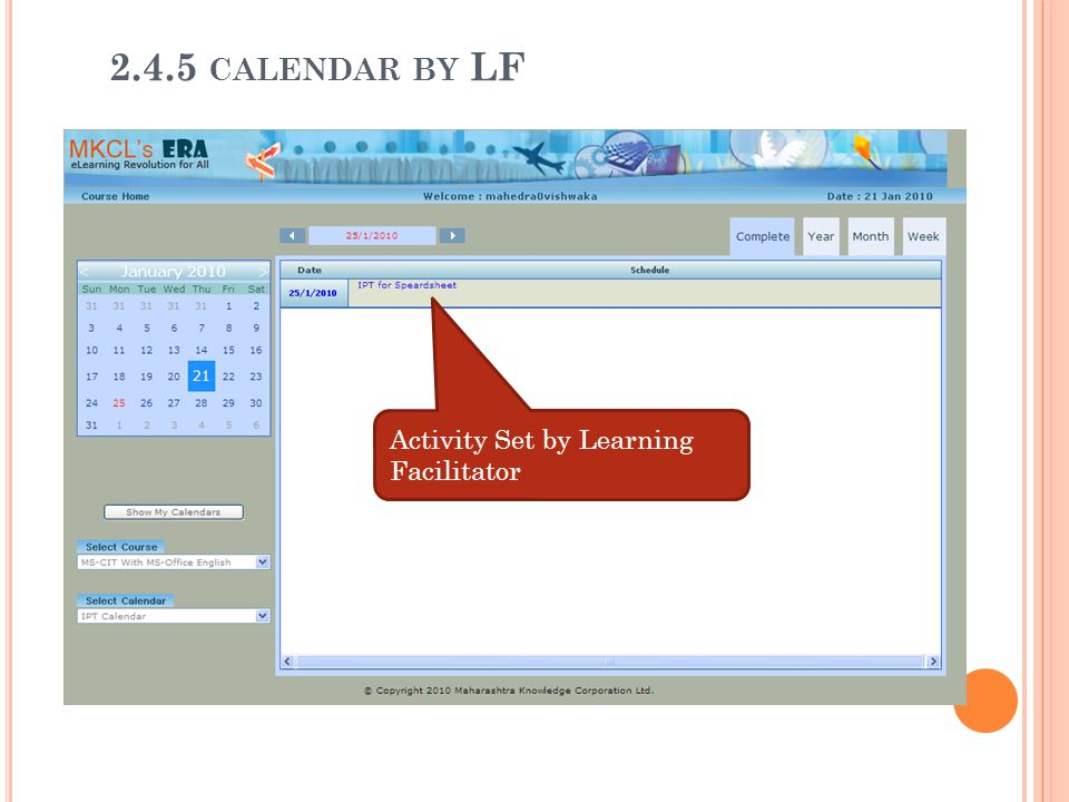 2.4.5 calendar by LF Activity Set by Learning Facilitator