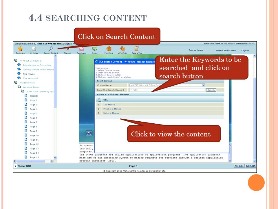 4.4 searching content Click on Search Content