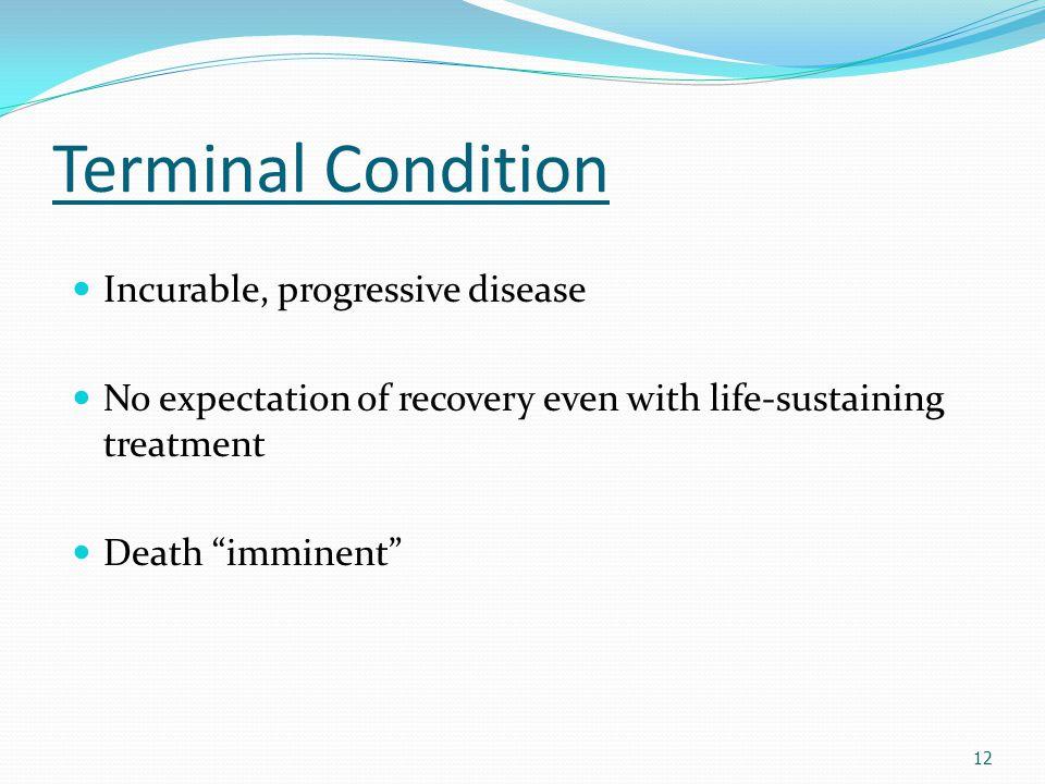Terminal Condition Incurable, progressive disease
