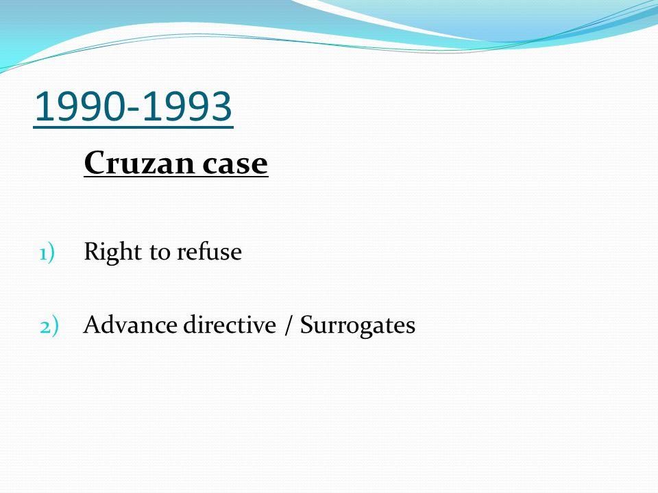 1990-1993 Cruzan case Right to refuse Advance directive / Surrogates