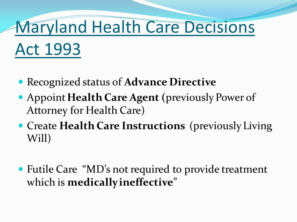 Maryland Health Care Decisions Act 1993