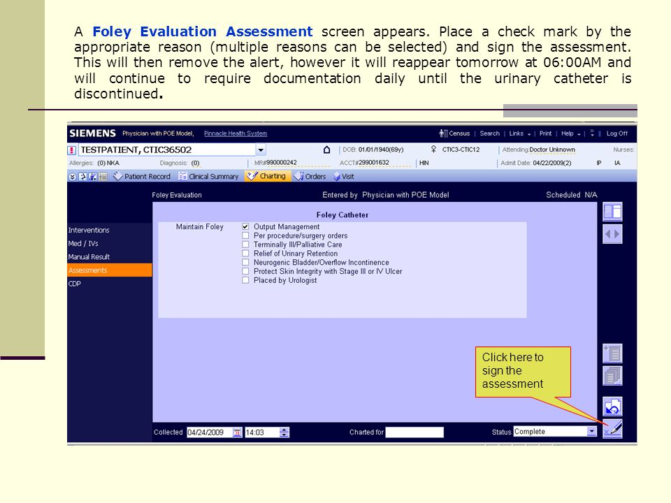 A Foley Evaluation Assessment screen appears