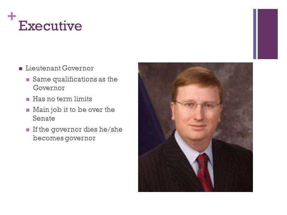Executive Lieutenant Governor Same qualifications as the Governor