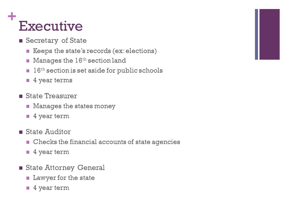 Executive Secretary of State State Treasurer State Auditor