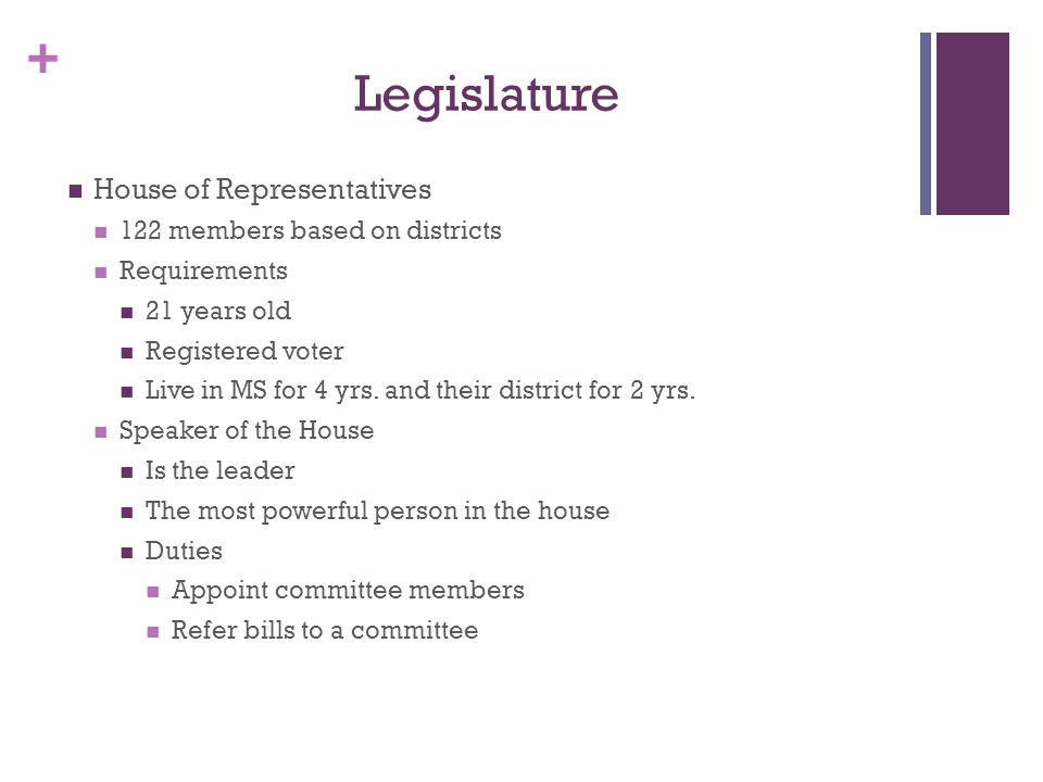 Legislature House of Representatives 122 members based on districts