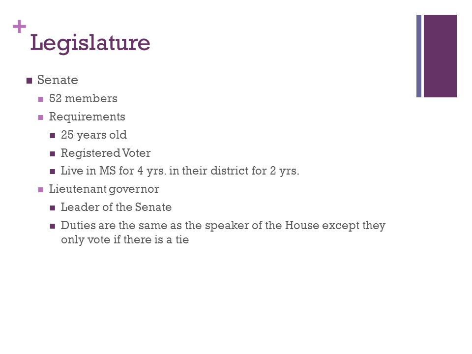 Legislature Senate 52 members Requirements 25 years old