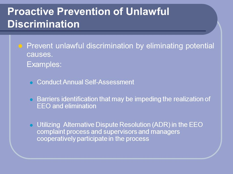 Proactive Prevention of Unlawful Discrimination
