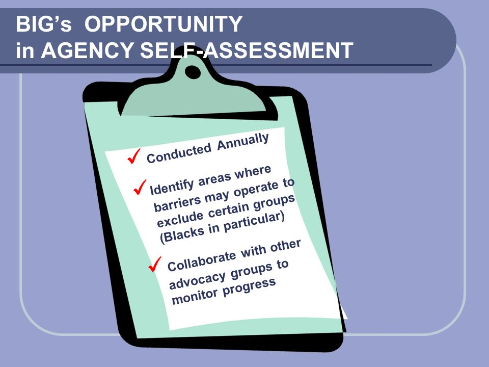 BIG's OPPORTUNITY in AGENCY SELF-ASSESSMENT