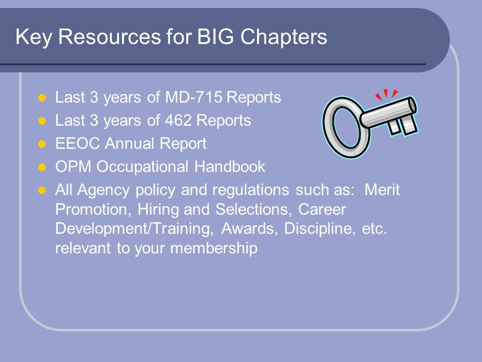 Key Resources for BIG Chapters